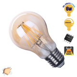 Γλόμπος LED Edison Filament Retro Μελί E27 6 Watt A60 Θερμό Dimmable GloboStar 44024