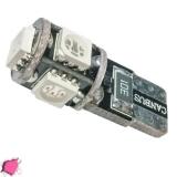 Λαμπτήρας LED T10 Can Bus με 5 SMD 5050 Φούξια