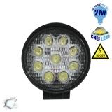 Προβολέας LED Εργασίας Round 27 Watt 10-30v Ψυχρό Λευκό GloboStar 30000