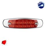 LED Πλευρικά Φώτα Όγκου Φορτηγών Αλουμινίου Νίκελ IP66 14 SMD 24 Volt Κόκκινο