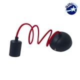 Κρεμαστό Φωτιστικό με Υφασμάτινο Κόκκινο Καλώδιο με Μάυρο Ντουί Ε27