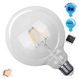 Γλόμπος LED Edison Filament Retro Globostar E27 4 Watt G125 Θερμό Dimmable