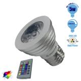 Σποτάκι LED E27 5 Watt RGB 220V με Ασύρματο Χειριστήριο GloboStar 47722