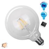 Γλόμπος LED Edison Filament Retro E27 8 Watt G125 Θερμό Dimmable GloboStar 44011