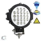 Προβολέας LED Εργασίας BLACK Round 63 Watt 10-30v Ψυχρό Λευκό GloboStar 05198