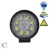 Προβολέας LED Εργασίας Round 24 Watt 10-30v Ψυχρό Λευκό GloboStar 29999