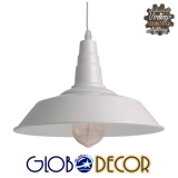 Vintage Industrial Κρεμαστή Μεταλλική Καμπάνα Globostar Φ26 Λευκή Φωτιστικό 1XE27 Με Ανάρτηση Καλωδίου