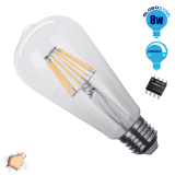 Γλόμπος LED Edison Filament Retro E27 8 Watt ST64 Θερμό Dimmable GloboStar 44013