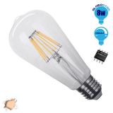 Γλόμπος LED Edison Filament Retro Globostar E27 8 Watt ST64 Θερμό Dimmable