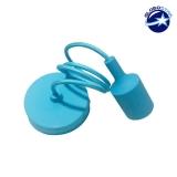 Κρεμαστό Φωτιστικό με Υφασμάτινο Γαλάζιο Καλώδιο και Ντουί  Ε27