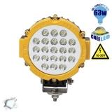 Προβολέας LED Εργασίας YELLOW Round 63 Watt 10-30v Ψυχρό Λευκό