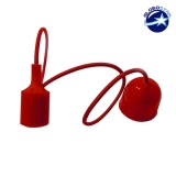 Κρεμαστό Φωτιστικό με Υφασμάτινο Κόκκινο Καλώδιο και Πλαστικό Ντουί  Ε27 GloboStar 90007