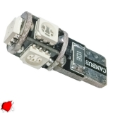 Λαμπτήρας LED T10 Can Bus με 5 SMD 5050 Κόκκινο