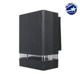 Φωτιστικό Τοίχου Quatro Μαύρο Ματ Αλουμινίου IP65 Down Gu10