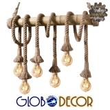 Vintage Κρεμαστό Φωτιστικό Οροφής με Βάση από Bamboo Globostar ROPE 6XE27 και Ανάρτηση Τριχιάς