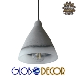 Vintage Κρεμαστό Φωτιστικό Οροφής Χωνί από Τσιμέντο και Γυαλί Globostar 1XE27 Ανάρτηση Καλωδίου
