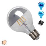 Γλόμπος LED Edison Filament Retro Ανεστραμμένου Καθρέπτου Ασημί Globostar E27 4 Watt G80 Θερμό Dimmable