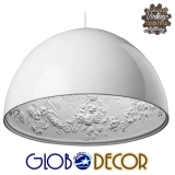 Κρεμαστό Φωτιστικό Οροφής Serenia Black Globostar 1XE27 με Γύψινο Ανάγλυφο Εσωτερικό Σχέδιο