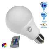 Λαμπτήρας LED E27 Γλόμπος 8 Watt 220 Volt RGB με Ασύρματο Χειριστήριο GloboStar 88964