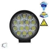 Προβολέας LED Εργασίας Round 42 Watt 10-30v Ψυχρό Λευκό GloboStar 40000