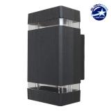 Φωτιστικό Τοίχου Quatro Μαύρο Ματ Αλουμινίου IP65 Up / Down Gu10 GloboStar 90046