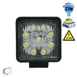 Προβολέας LED Εργασίας Square 27 Watt 10-30v Ψυχρό Λευκό GloboStar 10000