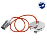 Κρεμαστό Φωτιστικό με Υφασμάτινο Πορτοκαλί Καλώδιο και Νίκελ Ντουί  Ε27 GloboStar 90002