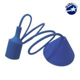 Κρεμαστό Φωτιστικό με Υφασμάτινο Μπλε Καλώδιο και Πλαστικό Ντουί  Ε27