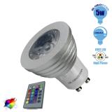 Σποτάκι LED GU10 5 Watt RGB 220V με Ασύρματο Χειριστήριο GloboStar 88965