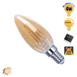 Κεράκι LED Edison Filament Retro Μελί E14 4 Watt c35 Θερμό Dimmable GloboStar 44020