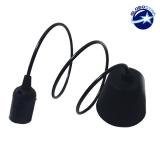 Κρεμαστό Φωτιστικό με Πλαστικό Μάυρο Καλώδιο και Πλαστικό Ντουί  Ε27