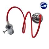 Κρεμαστό Φωτιστικό με Υφασμάτινο Κόκκινο Καλώδιο και Νίκελ Ντουί  Ε27
