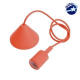Κρεμαστό Φωτιστικό με Υφασμάτινο Πορτοκαλί Καλώδιο και Ντουί  Ε27