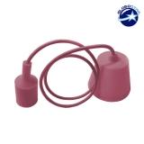 Κρεμαστό Φωτιστικό με Υφασμάτινο Ροζ Καλώδιο και Ντουί  Ε27