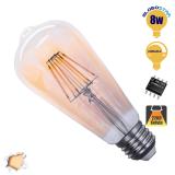 Γλόμπος LED Edison Filament Retro Μελί Globostar E27 8 Watt ST64 Θερμό Dimmable