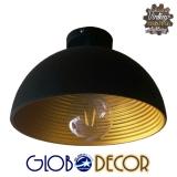 Vintage Κρεμαστή Μεταλλική Καμπάνα Globostar Φ30 Μαύρο Ματ / Χρυσό Μεταλλικό Φωτιστικό 1XE27 Με Ανάρτηση Καλωδίου