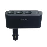 Adaptor 3x Αναπτήρας Αυτοκινήτου και 1x USB GloboStar 35445