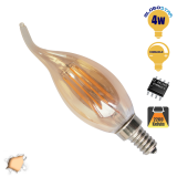 Κεράκι Φλόγα LED Edison Filament Retro Μελί E14 4 Watt c35t Θερμό Dimmable GloboStar 44021
