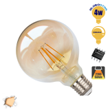 Γλόμπος LED Edison Filament Retro Μελί E27 4 Watt G95 Θερμό Dimmable GloboStar 44027