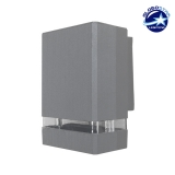 Φωτιστικό Τοίχου Quatro Ασημί Αλουμινίου IP65 Down Gu10