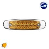 LED Πλευρικά Φώτα Όγκου Φορτηγών Αλουμινίου Νίκελ IP66 14 SMD 24 Volt Πορτοκαλί GloboStar 75477