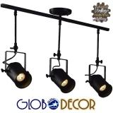 Vintage Φωτιστικό Οροφής Τρίφωτο Μαύρο Ράγα GloboStar HOLLYWOOD 01155