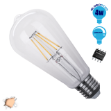 Γλόμπος LED Edison Filament Retro E27 4 Watt ST64 Θερμό Dimmable GloboStar 44018