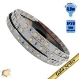 Ταινία LED 4.8 Watt 12 Volt Θερμό Λευκό IP20 GloboStar 18630
