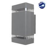 Φωτιστικό Τοίχου Quatro Ασημί Αλουμινίου IP65 Up / Down Gu10