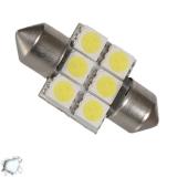Σωληνωτός LED Απλός 31mm με 6 SMD 5050 Ψυχρό Λευκό