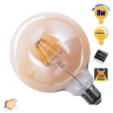 Γλόμπος LED Edison Filament Retro Μελί E27 8 Watt G125 Θερμό Dimmable GloboStar 44028