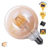 Γλόμπος LED Edison Filament Retro Μελί Globostar E27 8 Watt G125 Θερμό Dimmable