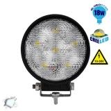 Προβολέας LED Εργασίας Round 18 Watt 10-30v Ψυχρό Λευκό GloboStar 29991