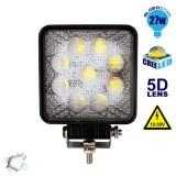Προβολέας LED 5D Εργασίας Square 27 Watt 10-30v Ψυχρό Λευκό GloboStar 10100